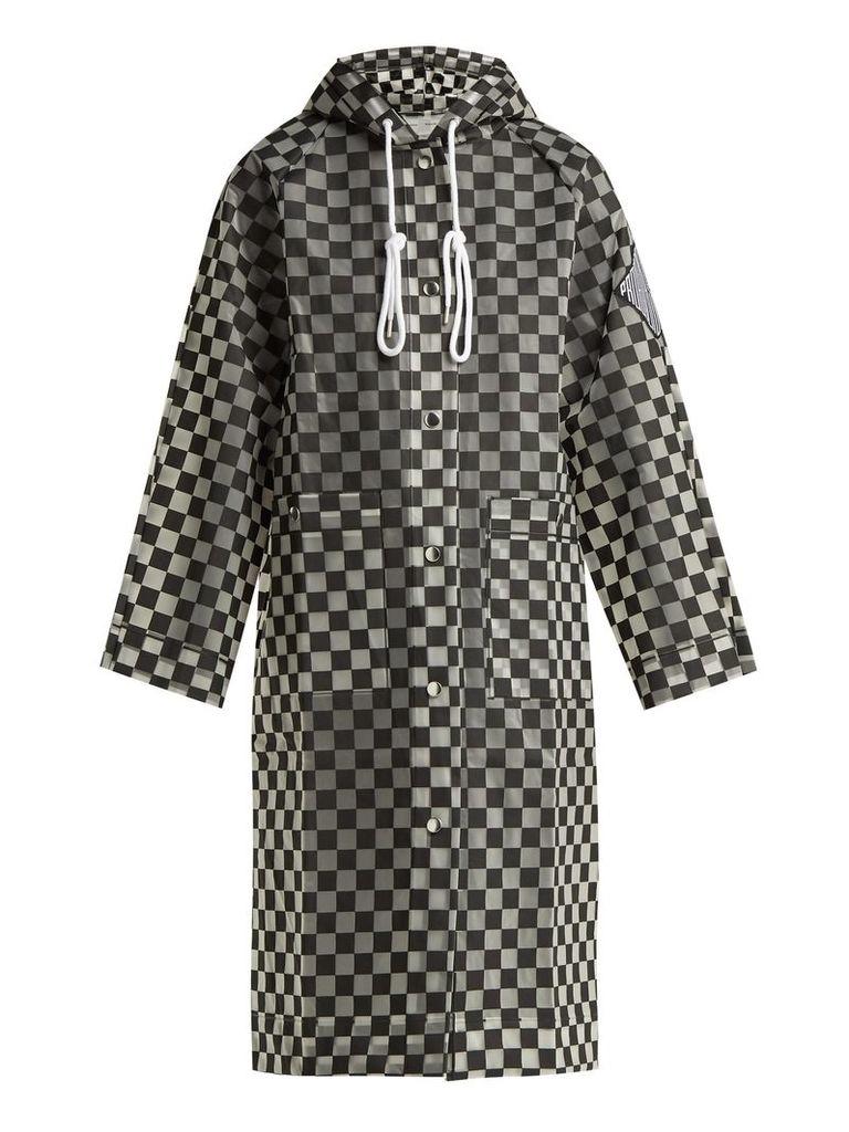 Proenza Schouler Pswl - Checkerboard Waterproof Anorak - Womens - Black And White