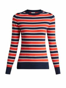 Joostricot - Peachskin Striped Cotton Blend Sweater - Womens - Navy Multi