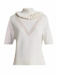 Barrie - Flying Lace Ruffled Cashmere Sweater - Womens - White