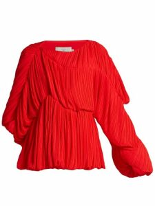 Preen By Thornton Bregazzi - Heather Pleated Georgette Blouse - Womens - Red