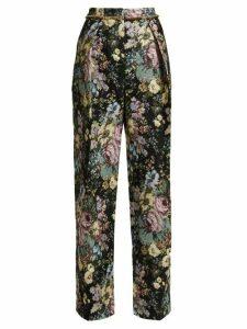 Preen By Thornton Bregazzi - Maggie Floral Jacquard Wide-leg Trousers - Womens - Black Multi