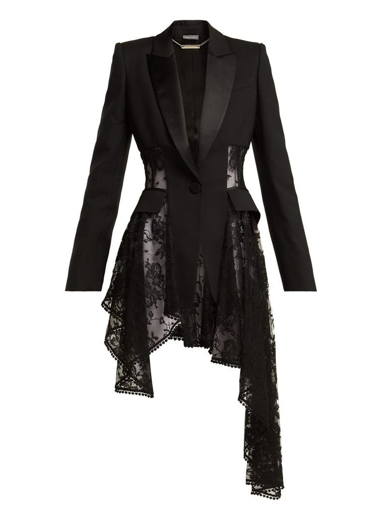 Alexander Mcqueen - Single Breasted Lace Panel Wool Blend Blazer - Womens - Black