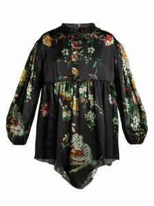By Walid - Nicky Floral Print Silk Blouse - Womens - Navy Print