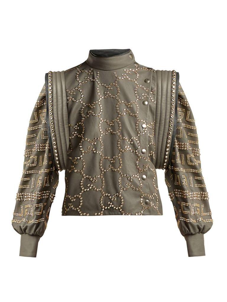 Gucci - Crystal Embellished Leather Jacket - Womens - Grey Multi