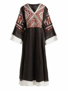Vita Kin - Malta Embroidered Linen Midi Dress - Womens - Black Multi