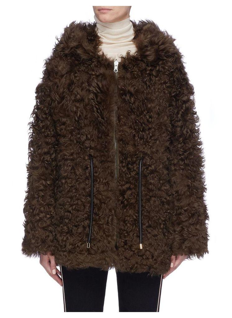Lambskin shearling hooded jacket
