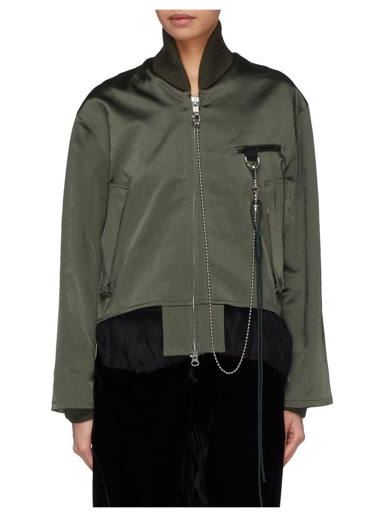 Rope chain deconstructed satin bomber jacket