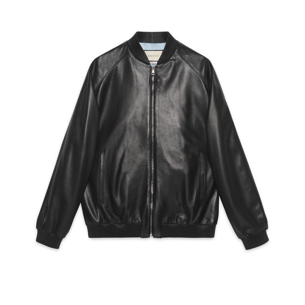 Leather bomber with Paramount logo