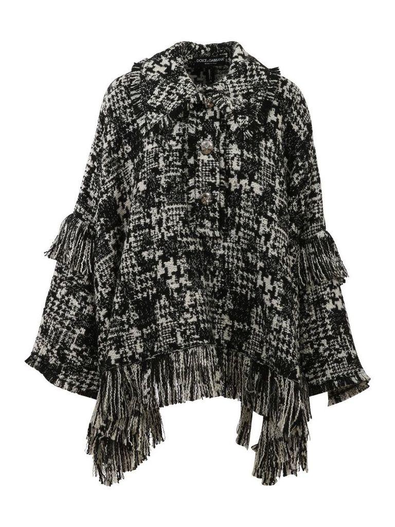Dolce & Gabbana Houndstooth Knit Cape