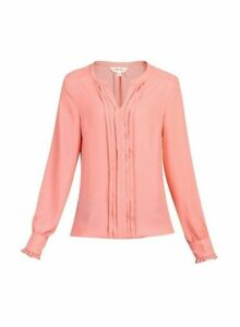 Womens * Jolie Moi Coral Pink Pleated Blouse, Pink