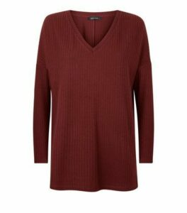 Burgundy Brushed Rib Oversized Top New Look