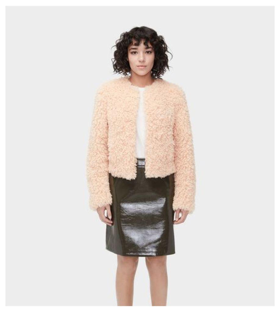 UGG Lorrena Faux Fur Jacket Womens Outerwear Parfait Pink M