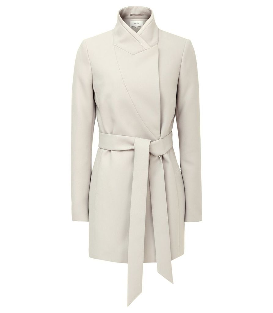 Reiss Clarence - Satin Faced Belted Jacket in Neutral, Womens, Size 8