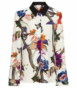 Reiss Lupa - Bold Floral Printed Blouse in Multi, Womens, Size 14