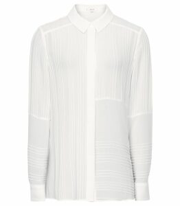 Reiss Lula - Pin Tuck Detailed Blouse in Ivory, Womens, Size 14