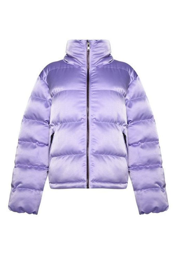 Womens **Padded Puffer Jacket by Glamorous - Lilac, Lilac