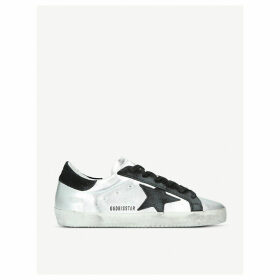 Superstar A8 distressed metallic-leather trainers