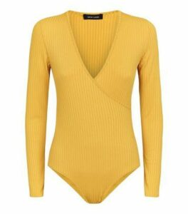 Mustard Ribbed Long Sleeve Wrap Bodysuit New Look