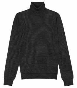 Reiss Rinder - Fine Striped Rollneck Jumper in Charcoal, Mens, Size XXL