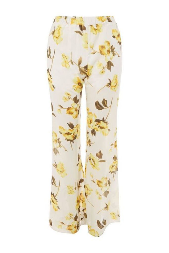Womens **Sasika Yellow Floral Flared Trousers by WYLDR - Multi, Multi