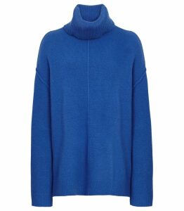 Reiss Cleo - Wool Cashmere Blend Jumper in Cobalt, Womens, Size XXL