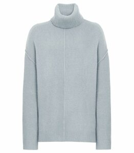 Reiss Cleo - Wool Cashmere Blend Jumper in Pale Blue, Womens, Size XXL