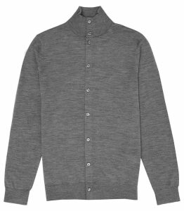 Reiss Lupton - Merino Wool Button Through Top in Grey Melange, Mens, Size XXL