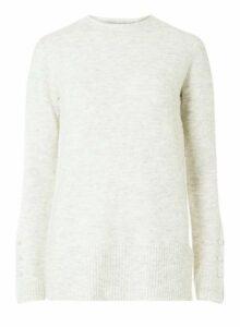 Womens **Tall Grey Pearl Cuff Jumper- Grey, Grey