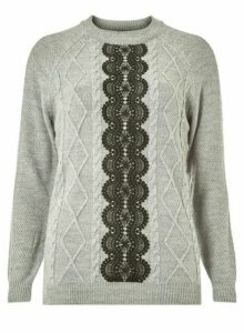 Womens **Tall Grey Lace Panel Jumper- Grey, Grey