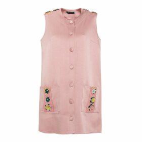 Manley - Tabby Leather Embellished Silk Coat Dress Pink