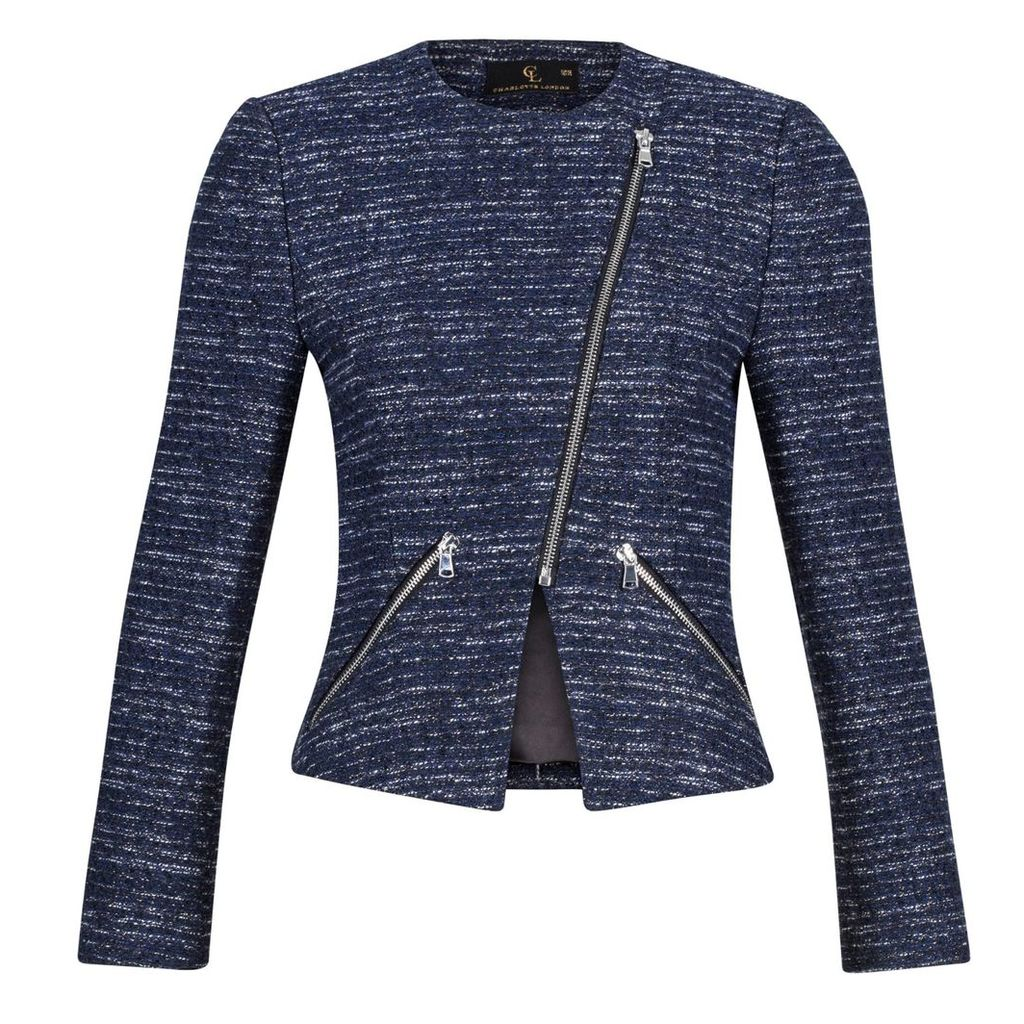 Charlotte London - Biker Jacket In Navy and Silver