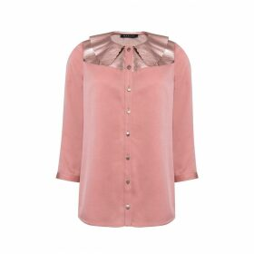 Manley - Mia Silk Shirt With Metallic Leather Collar Pink