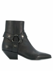 Saint Laurent strapped pointed ankle boots - Black