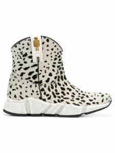 Texas Robot animal print ankle boots - White