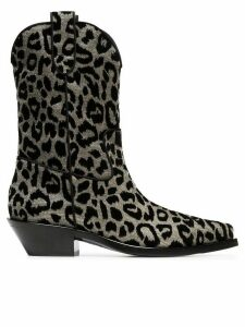 Dolce & Gabbana Texan 40 leopard cowboy boots - Metallic