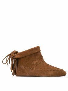 Saint Laurent winter fringed booties - Brown