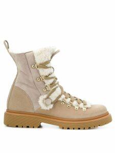 Moncler Berenice shearling boots - Neutrals