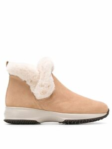 Hogan shearling ankle boots - NEUTRALS