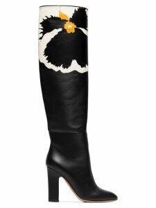 Valentino Valentino Garavani floral knee high boots - Black