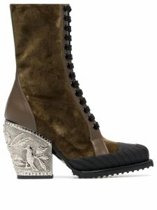 Chloé brown Rylee 90 baroque velvet lace up boots - Green