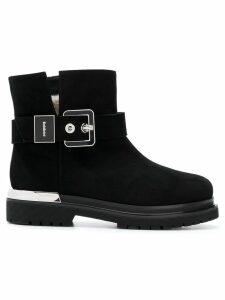 Baldinini silver buckle ankle boot - Black