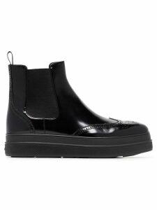Prada 45 Leather Flatform Chelsea Boots - Black