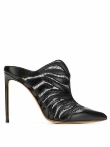 Francesco Russo zebra sheer mules - Black