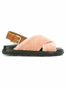 Marni shearling crisscross sandals - PINK