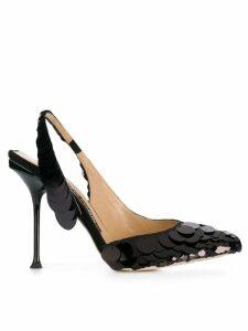 Sergio Rossi sequin slingback pumps - Black