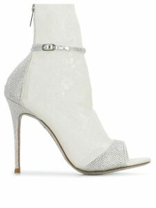 René Caovilla crystal embellished sandals - White