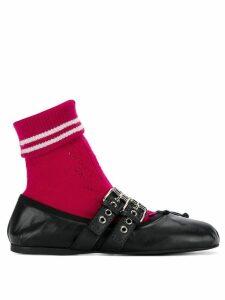 Miu Miu sock embellished ballerina flats - Black
