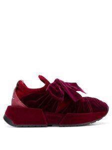 Mm6 Maison Margiela velvet bow sneakers - Red