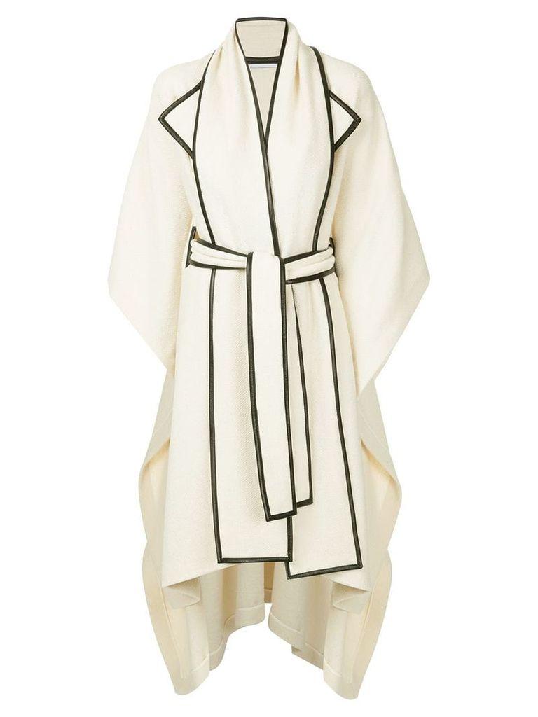 Rosetta Getty scarf detail cape - White