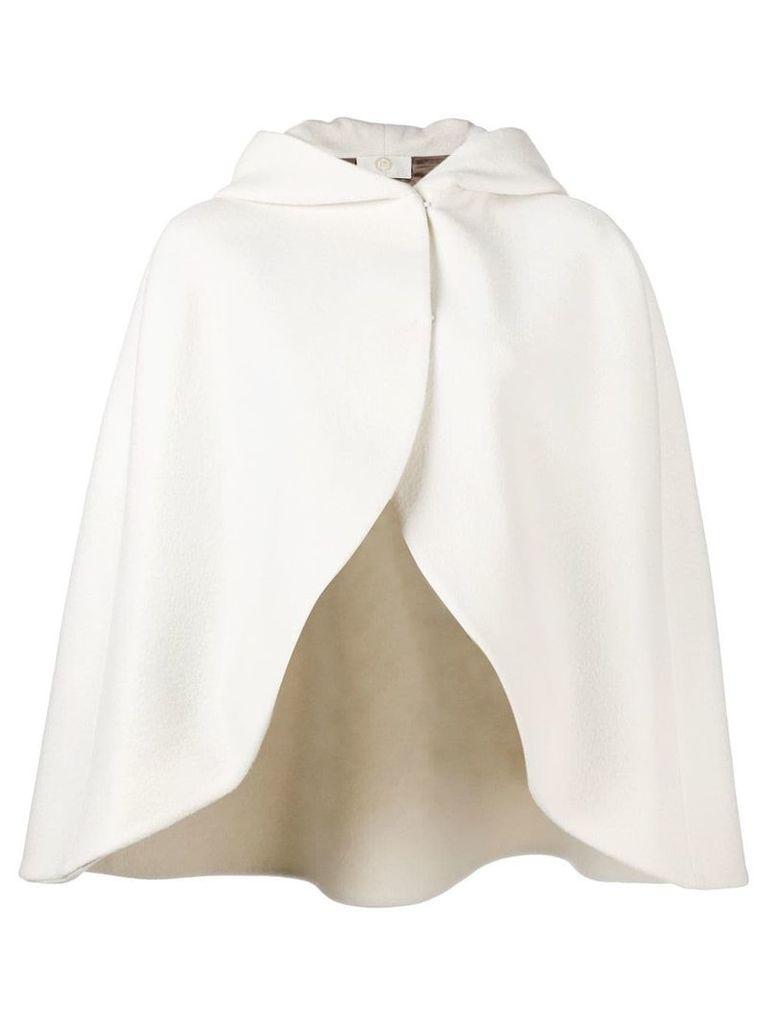 Sara Battaglia hooded cape - White